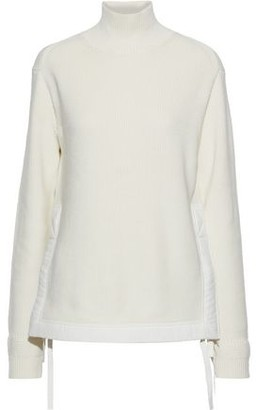 Helmut Lang Knotted Shell-trimmed Ribbed Cotton Turtleneck Sweater