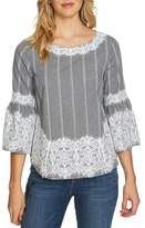 CeCe Bell Sleeve Lace & Gingham Blouse