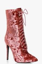 Boohoo Annie Crushed Velvet Lace Up Shoe Boot