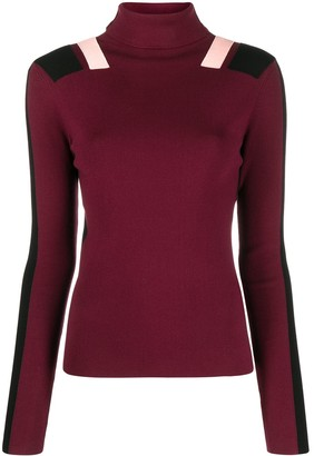 Victoria Victoria Beckham Colour Block Roll-Neck Jumper