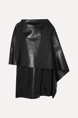 Valentino Cape-effect Leather Mini Dress - Black