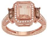 Tiara 10k Gold Multi Emerald-cut Gemstone and Diamond Ring