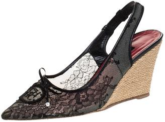Carolina Herrera Black Lace And Leather Trim Pointed Toe Wedge Sandals Size 40