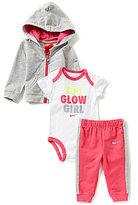 Nike Baby Girls Newborn-12 Months French Terry Hoodie Jacket, Color Block Pants, & You Glow Girl Short-Sleeve Bodysuit Set