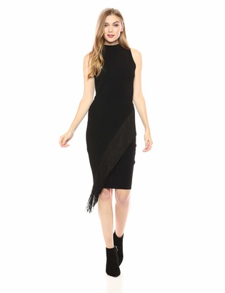 Milly Women's Knit Sleeveless Angled Fringe Fitted Dress