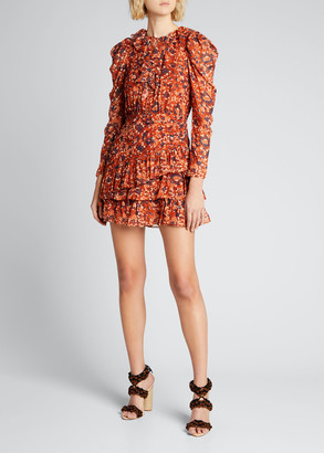 Ulla Johnson Cecily Floral Silk Long-Sleeve Mini Dress