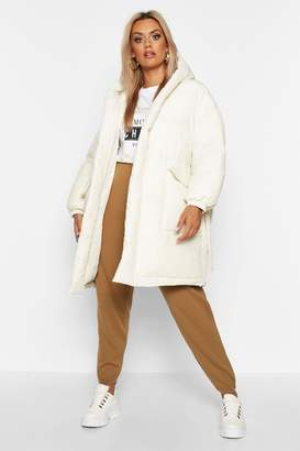 boohoo Plus Shawl Collar Belted Mid Length Puffer Coat