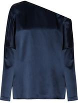 Tibi Asymmetric Silk-satin Blouse - Navy