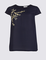 Per Una Embroidered Round Neck Short Sleeve Tunic