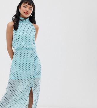 Glamorous Petite high neck maxi dress in mini star print-Blue