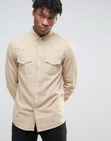 Asos Western Denim Shirt In Camel With Long Sleeves In Regular Fit