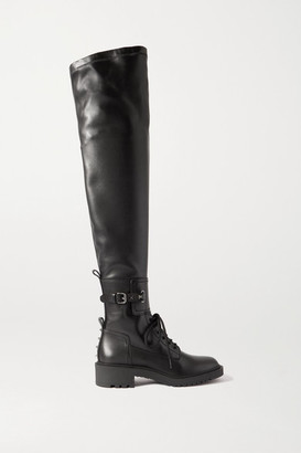 Valentino Garavani Rockstud 40 Leather Over-the-knee Boots - Black