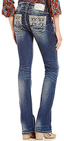 Miss Me Gold Tribal Embroidered Pocket Bootcut Jeans