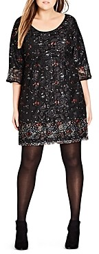 City Chic Plus City Chic Floral-and-Lace Dress