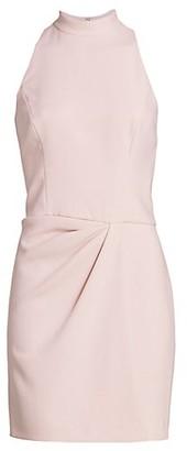 Halston Sleeveless Drape Front Sheath Dress