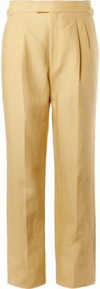 Pleated Linen Suit Trousers