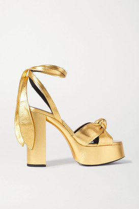 Saint Laurent Bianca Knotted Metallic Leather Platform Sandals - Gold