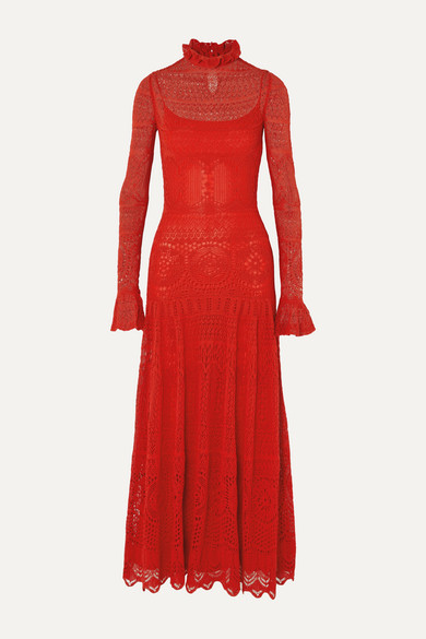 Alexander McQueen Ruffled Crocheted Cotton-blend Lace Maxi Dress - Red