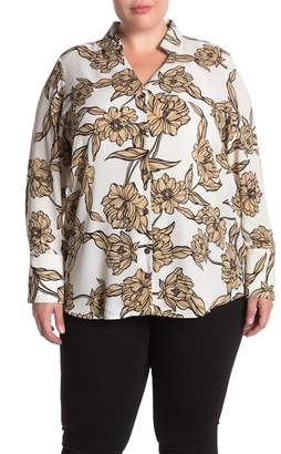 14th & Union Floral Print Button Front Tunic Shirt (Plus Size)