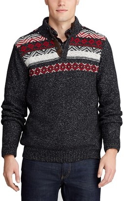 Chaps Men's Striped Button Mock Sweater