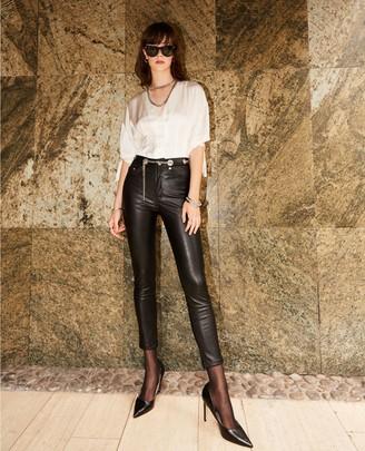 The Kooples Leather-effect slim fit black jeans, eyelets