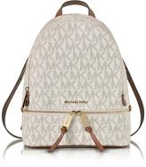 Michael Kors Rhea Zip Vanilla Signature Coated Twill Medium Backpack