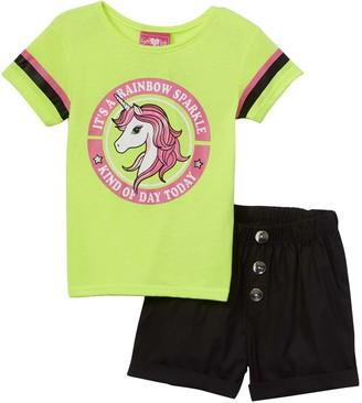 Girls Luv Pink Girls' Casual Shorts neon - Neon Green 'Rainbow Sparkle' Unicorn Tee & Black Shorts - Toddler & Girls