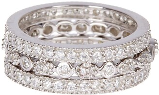 Sterling Forever Sterling Silver Three Row CZ Band Ring - Set of 3