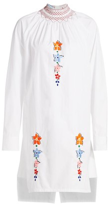 Prada Smock Neck Floral Embroidered Tunic Dress