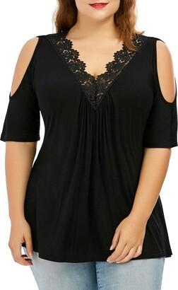 Auifor Fashion Womens Plus Size Lace Trim V Neck Cold Shoulder Strapless Tops Blouse(Black 5XL)