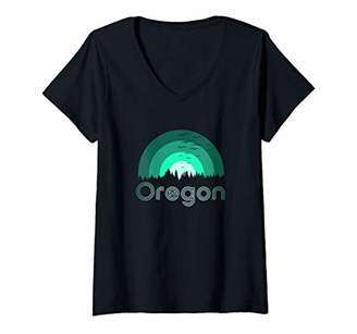 IDEA Womens Retro Vintage Oregon Throwback Forest Fantasy gift V-Neck T-Shirt