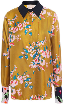 Roksanda Satin-trimmed Floral-print Silk-twill Shirt
