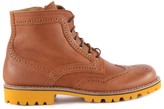 Gallucci Leather Zip-Up Lace-Up Boots with Yellow Sole
