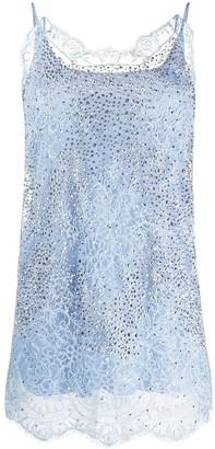 Ermanno Scervino Embellished Lace Detail Vest Top