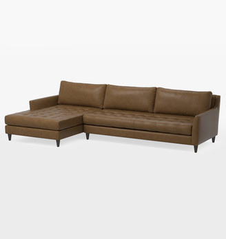 Rejuvenation Hastings Classic Sectional Leather Sofa - Left Chaise