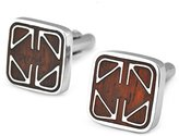 Pense'e PenSee Mens Rare Cuff Link Stainless Steel & Red Wood Cufflinks-Various Styles (Fashion Geometric Figure)