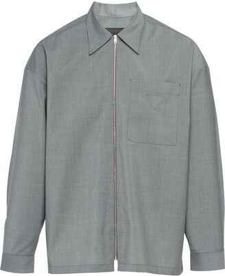 Prada Zip-Front Shirt Jacket
