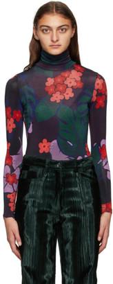 Dries Van Noten Purple and Red Floral Turtleneck