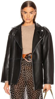 Ganni Grain Leather Jacket in Black | FWRD