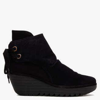 Fly London Yama Navy Suede Wedge Ankle Boots