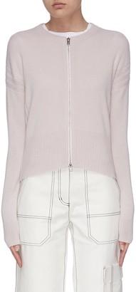 3.1 Phillip Lim Panelled rib knit zip-up cardigan