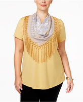 Style&Co. Style & Co Plus Size T-Shirt with Printed Scarf, Only at Macy's