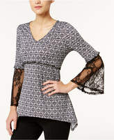 NY Collection Printed Lace-Sleeve Top