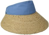 Scala Women's Raffia Visor Dyed Cotton Crown Hat