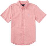 Ralph Lauren Short-Sleeve Linen-Blend Shirt, Island Red, Size 5-7