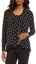 Allison Daley Petites Cascade Open Front Dot Print Cardigan