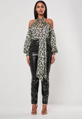 Missguided Black Baroque Chiffon Cold Shoulder Bodysuit