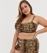 Wolf & Whistle Curve Exclusive Eco adjustable high waist bikini bottom in tiger print
