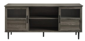 Walker Edison Glass Wood Split Panel Door Tv Console
