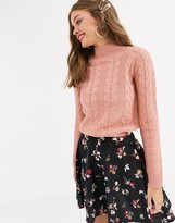 Lipsy chunky knit jumper in coral